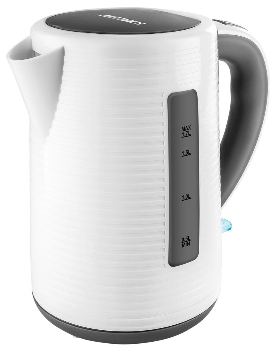 Scarlett SC-EK18P10, White Grey чайник электрическийSC-EK18P10Современный электрический чайник Scarlett SC-EK18P10 из высококачественной пластмассы позволит быстро вскипятить нужное количество воды. Модель удобна в использовании, имеет большие окна с двусторонним индикатором для проверки уровня воды и подсветку кнопки включения, которая сигнализирует о работе чайника.