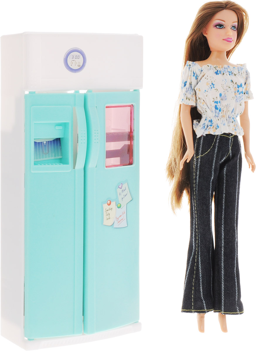 1TOY Холодильник с куклой Красотка холодильник с продуктами