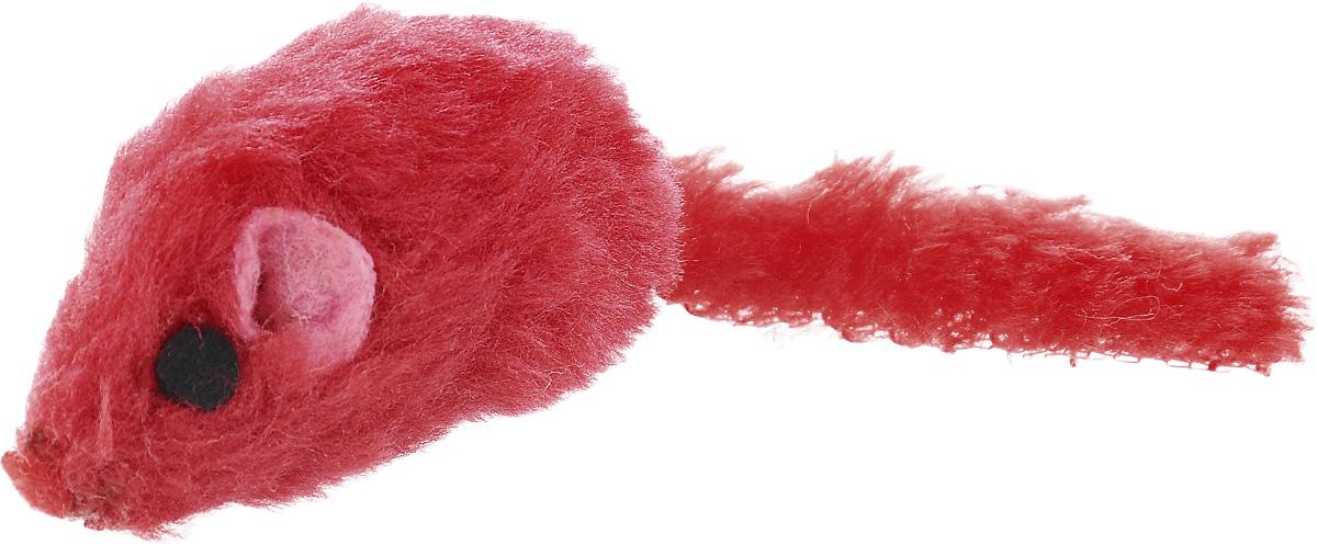Игрушка для кошек Каскад Мышь, с коротким мехом, цвет: красный, длина 12,5 см игрушка для животных каскад удочка с пауком и перьями длина 58 5 см