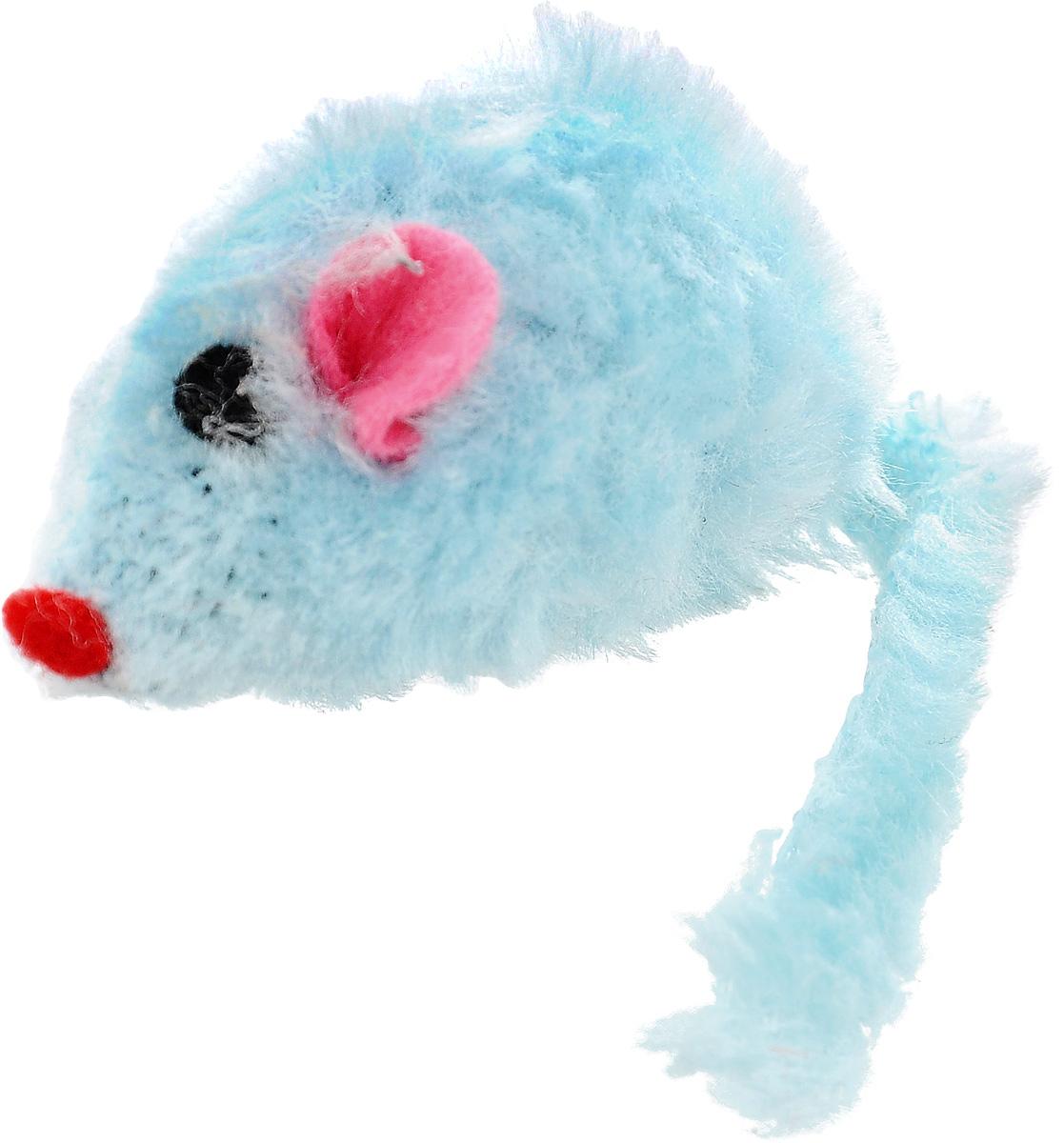 Игрушка для кошек Каскад Мышь, с коротким мехом, цвет: голубой, длина 12,5 см игрушка для кошек каскад мышь на пружине цвет серый длина 9 см