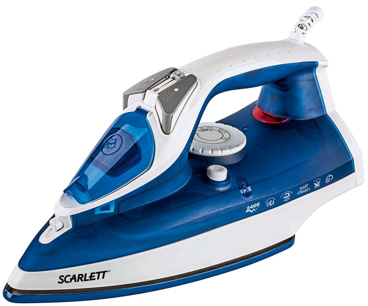 Scarlett SC-SI30E01, Blue утюгSC-SI30E01Утюг Scarlett SC-SI30E01 облегчает уход за одеждой и безусловно порадует вас своими поистине безграничными возможностями. Ультрагладкая подошва утюга Scarlett SC-SI30E01 с керамическим покрытием обеспечивает идеальное скольжение и избавит ваши вещи даже от самых сложных складок.Прибор обладает всеми необходимыми характеристиками для отличного результата: сухое глажение, отпаривание с регулировкой, функция разбрызгивания, возможность вертикального отпаривания. Модель оснащена функциями парового удара и самоочистки, а также системами антикапля и антинакипь. Помимо этого утюг Scarlett SC-SI30E01 оснащен функцией Автоотключение. Он выключается через 30 секунд в горизонтальном положении, через 8 минут в вертикальном положении.Сетевой шнур крепится при помощи шарового механизма, что не позволяет ему запутаться во время эксплуатации.