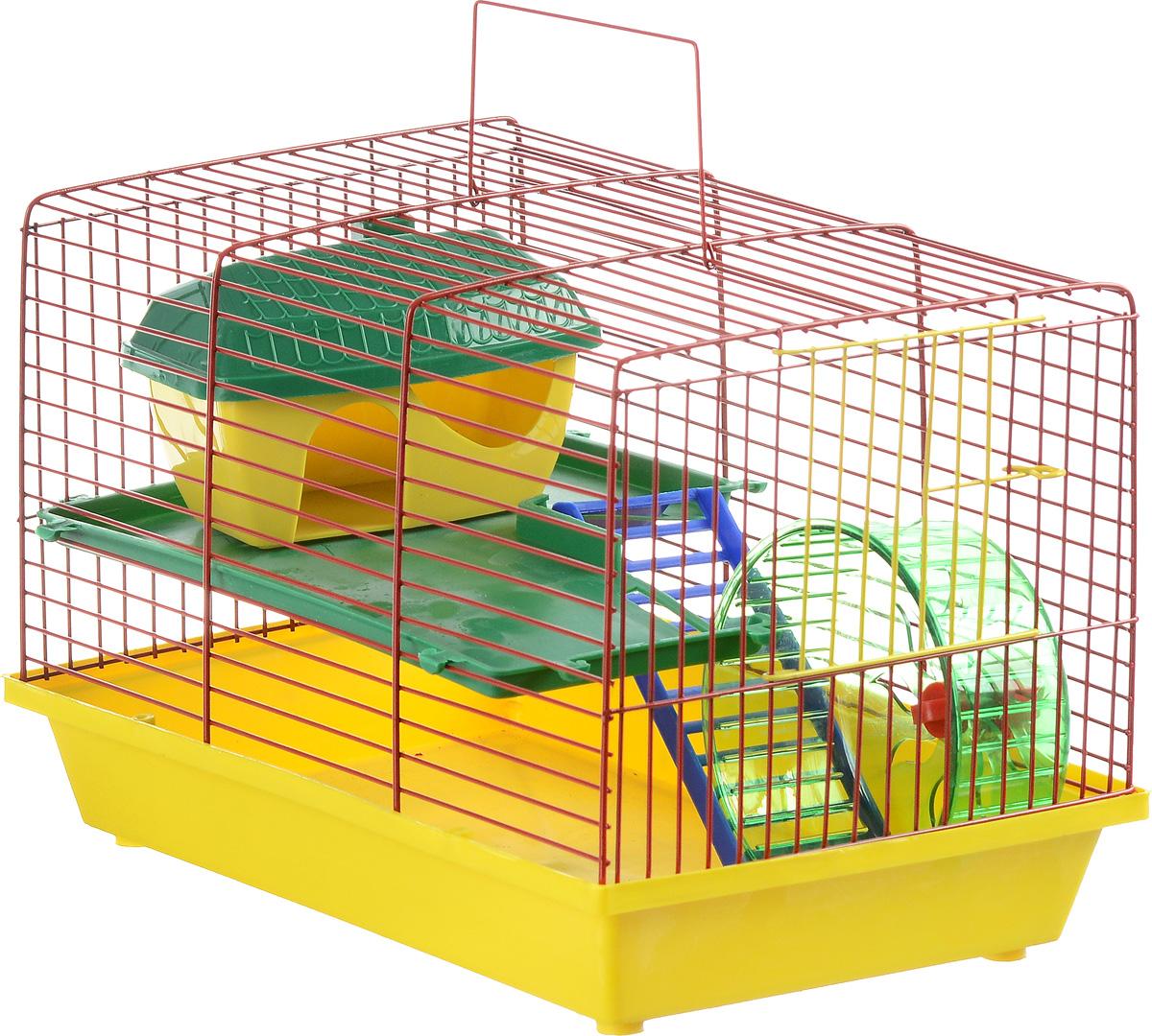 Клетка для грызунов  ЗооМарк , 2-этажная, цвет: желтый поддон, красная решетка, зеленый этаж, 36 х 23 х 24 см
