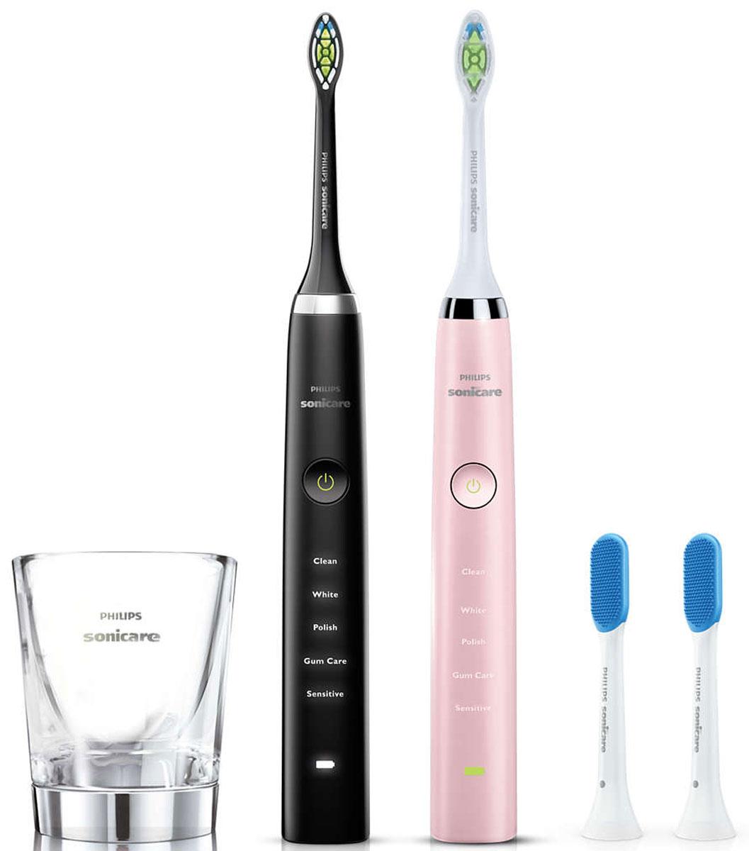 Philips HX9368/35, Black Pink набор электрических зубных щеток, 2 штHX9368/35Подарочный набор из двух электрических зубных щеток Philips Sonicare DiamondClean Для него и для неё. Элегантное сочетание черного и розового цвета в одном наборе. Удаляет в 7 раз больше налета в труднодоступных местах по сравнению с обычной ручной зубной щеткойЭлектрическая зубная щетка Philips Sonicare эффективно удаляет налет из межзубных промежутков и вдоль линии десен, благодаря этому улучшая здоровье десен всего после двух недель регулярного применения.Philips Sonicare возвращает зубам естественную белизну в 2 раза эффективнее по сравнению с обычной зубной щеткой. Превосходный результат уже после 1 недели использования. Удаляет на 100 % больше потемнений с зубной эмали и осветляет ваши зубы всего за одну неделю.DiamondClean — это лучшая чистящая насадка Philips Sonicare для отбеливания зубов. Кончики щетинок средней жесткости имеют форму ромба и бережно и эффективно удаляют налет. Электрическая зубная щетка Philips Sonicare обеспечивает тщательную чистку и более эффективное осветление зубов по сравнению с ручной зубной щеткой.Стакан с зарядной базой: просто поместите зубную щетку в стакан для зарядки. Стакан также можно использовать для ополаскивания полости рта после чистки зубов.Щетка для языка TongueCare+ с 240 резиновыми микрощетинками специально разработана для очистки мягкой и пористой поверхности языка. Гибкие микрощетинки повторяют форму языка и мягко очищают все неровности, предотвращая скопление бактерий, что позволяет антибактериальному спрею BreathRx действовать более эффективно. Компактный размер щетки гарантирует комфортную чистку всей поверхности языка.Лучшая модель щетки с функцией Отбеливание в линейке Philips Sonicare: помогает эффективно удалить налет и поверхностные потемнения, чтобы ваша улыбка всегда оставалась сияющей.Благодаря уникальной технологии чистки электрическая зубная щетка Philips Sonicare мягко и эффективно очищает межзубные промежутки и участки вдоль