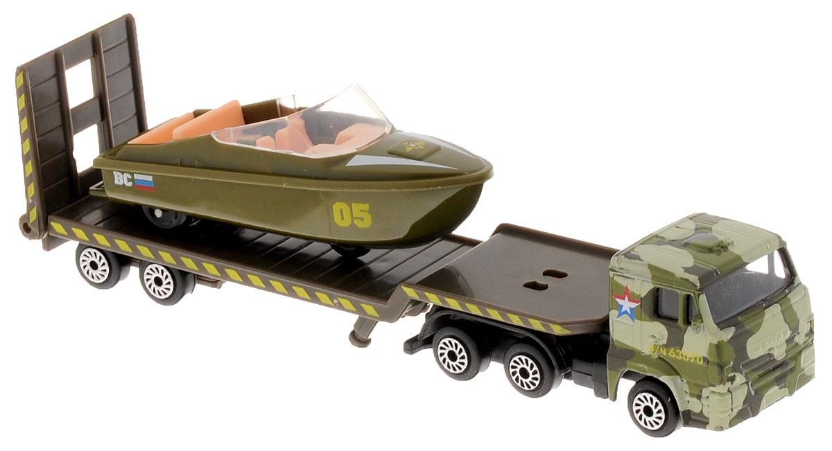 ТехноПарк Набор машинок Транспортер военный КамАЗ с лодкой 2 шт электромотор для лодки интекс