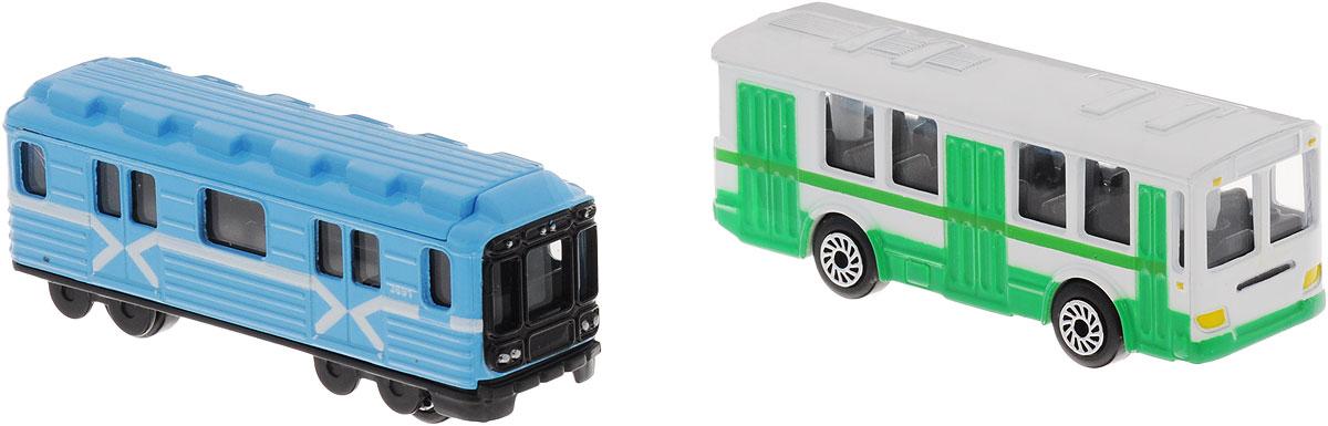 игрушка технопарк троллейбус trol rc ТехноПарк Набор машинок Вагон метро и троллейбус