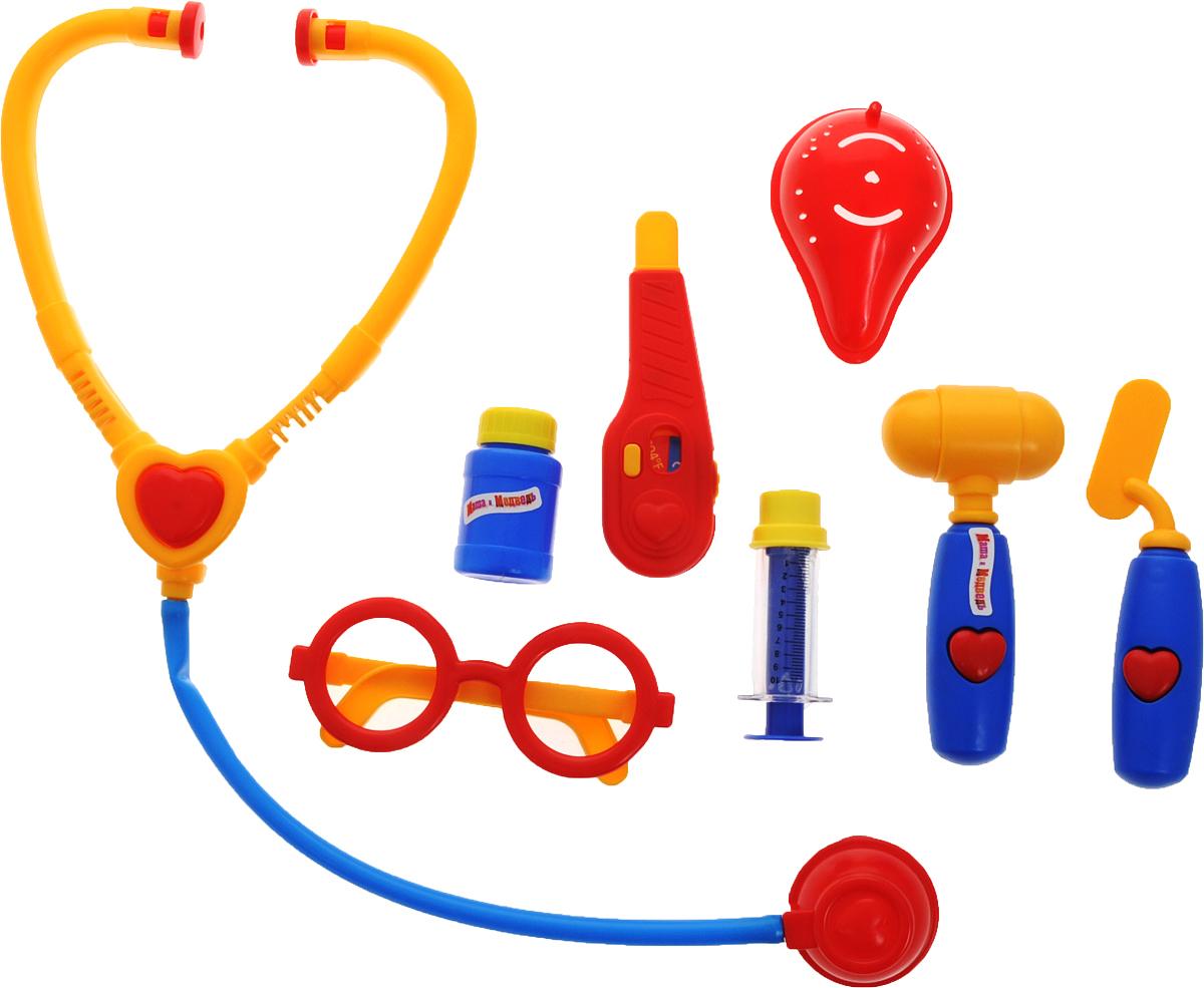Играем вместе Игрушечный набор доктора Маша и Медведь 8 предметов игрушки для ванной играем вместе набор для купания маша и медведь