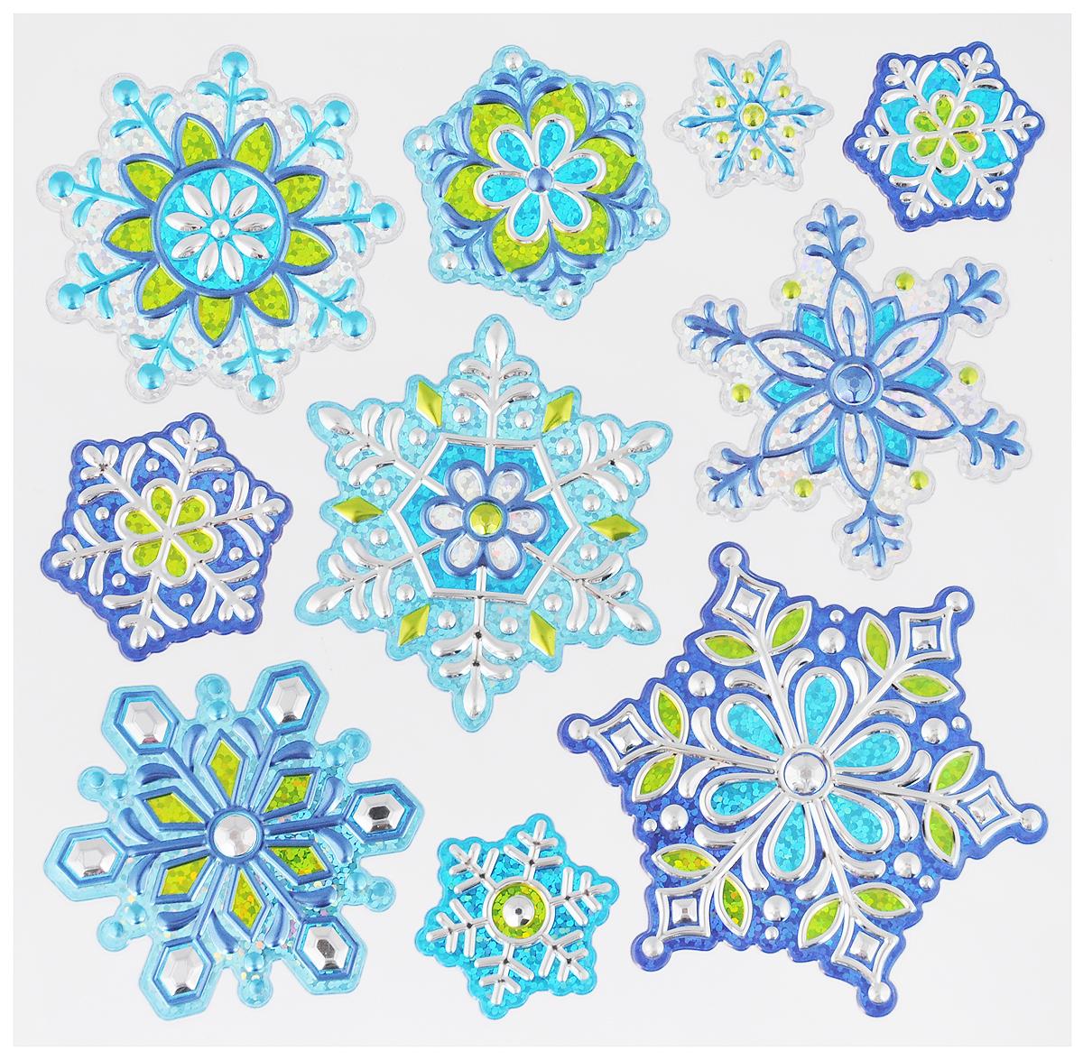 Украшение новогоднее оконное Winter Wings Снежинки, 10 штN09363Новогоднее оконное украшение Winter Wings Снежинки поможет украсить дом к предстоящим праздникам. Наклейки изготовлены из ПВХ.С помощью этих украшений вы сможете оживить интерьер по своему вкусу, наклеить их на окно, на зеркало или на дверь.Новогодние украшения всегда несут в себе волшебство и красоту праздника. Создайте в своем доме атмосферу тепла, веселья и радости, украшая его всей семьей. Размер листа: 17,5 х 18 см. Количество наклеек на листе: 10 шт.
