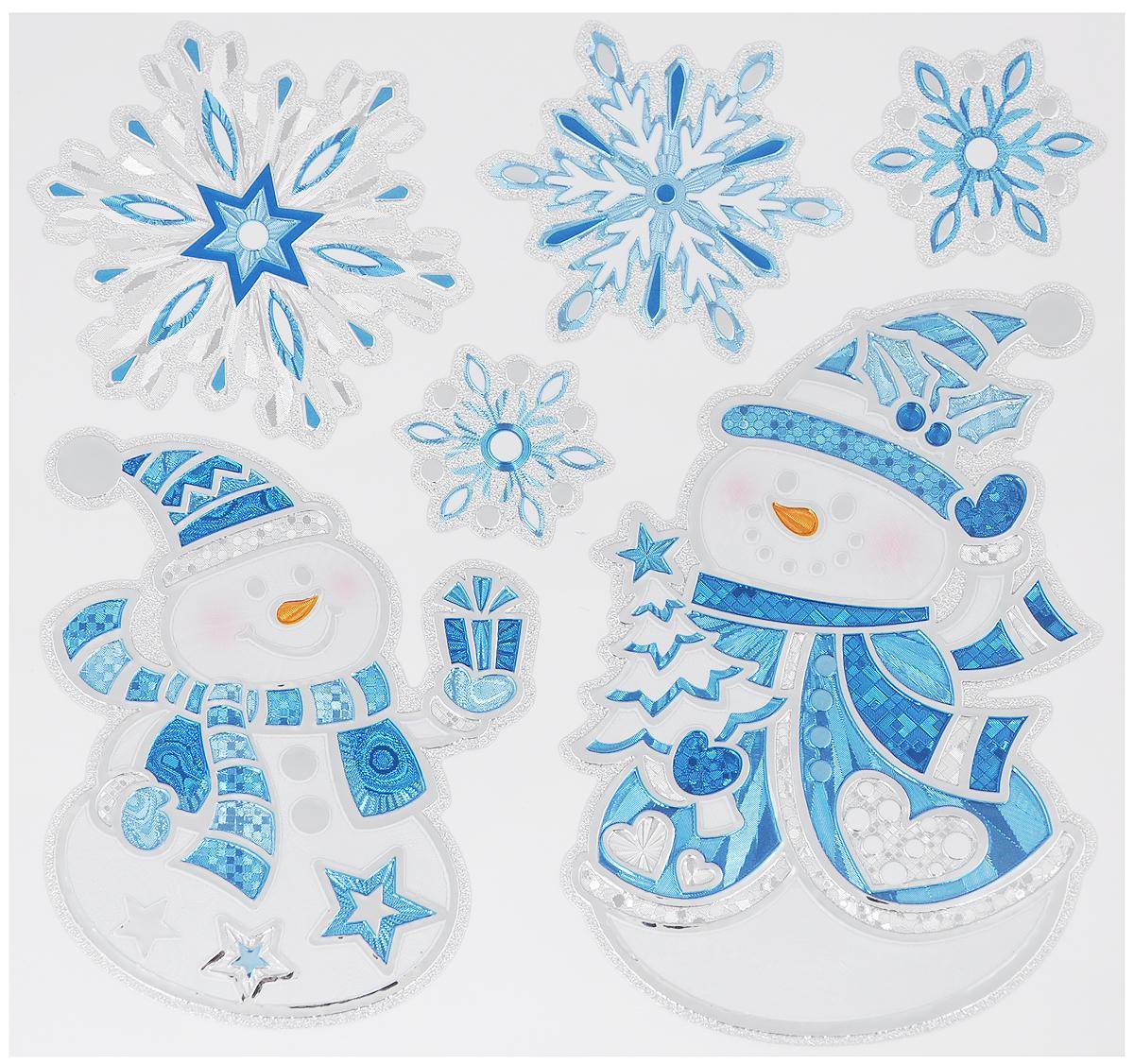 Украшение новогоднее оконное Winter Wings Снеговики, 6 штN09364Новогоднее оконное украшение Winter Wings Снеговики поможет украсить дом к предстоящим праздникам. Наклейки изготовлены из ПВХ и выполнены в виде снеговиков и снежинок.С помощью этих украшений вы сможете оживить интерьер по своему вкусу, наклеить их на окно, на зеркало или на дверь.Новогодние украшения всегда несут в себе волшебство и красоту праздника. Создайте в своем доме атмосферу тепла, веселья и радости, украшая его всей семьей. Размер листа: 17,5 х 18 см. Количество наклеек на листе: 6 шт.