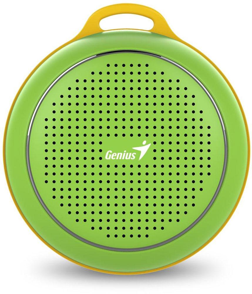 Genius SP-906BT, Green портативная колонка31731072102Невероятная громкость и глубокие басы благодаря усовершенствованной конструкции. Колонка Genius SP-906BT дает заряд отличного настроения. Пять ярких цветовых исполнений. Размер примерно с хоккейную шайбу.Интеллектуальная технология непрерывного звука: чистые высокие и низкие частоты без пропусков. Технология пространственного звучания позволяет оказаться в центре происходящего. Благодаря встроенному усилителю громкий звук колонки SP-906BT проникает в самое сердце.Прочный и гладкий карабин для подвешивания выполнен из стали и алюминия. Он устойчив к ржавчине и рассчитан на долгую службу, а силиконовый ободок обеспечивает одновременно гибкость и прочность. Сочетание жесткости и мягкости, универсальная колонка Genius SP-906BT!Благодаря передовой защите цепей и технологии Bluetooth 4.1 соединение устанавливается еще быстрее (стандартное расстояние для беспроводной работы: 10 м). Колонка SP-906BT поддерживает все продукты с технологией Bluetooth и позволяет удобно слушать музыку.Одно нажатие кнопки - и вы ведете отчетливую беседу по телефону благодаря высокочувствительному микрофону и усилителю. Чтобы перезвонить, достаточно нажать эту кнопку еще раз.