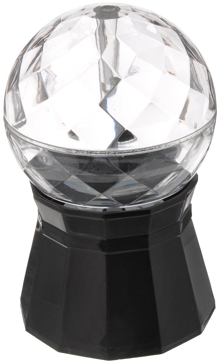 Светильник Эврика Диско, малый, цвет: прозрачный, черный, 9,2 х 9,2 х 14,5 см96158Светильник Эврика Диско предназначен для освещения жилых помещений. Такой светильник идеально подойдет для домашней дискотеки, детского праздника или просто уютного вечера в кругу семьи. Своим кристальным блеском и разноцветным сиянием он создаст радужное настроение всем участникам. Прибор может работать от трех батарей типа АА (в комплект не входят), а также имеет в комплекте шнур с адаптером от USB и от сети 220В.Создайте себе праздничное настроение с помощью оригинального светильника Эврика Диско.