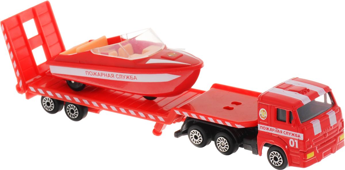 ТехноПарк Набор машинок Транспортер пожарный КамАЗ с лодкой 2 шт электромотор для лодки интекс