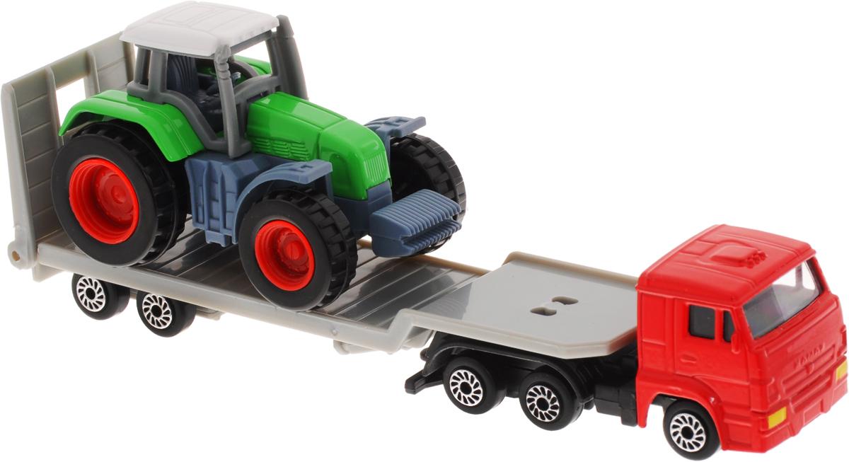 ТехноПарк Набор машинок Транспортер КамАЗ с трактором 2 шт машинки технопарк машина технопарк металлический камаз автотранспортер