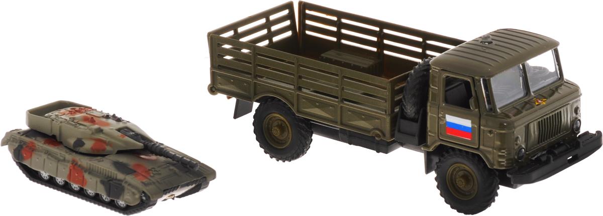 ТехноПарк Машинка инерционная ГАЗ-66 с танком ассенизаторскую машину газ 66 в краснодаре