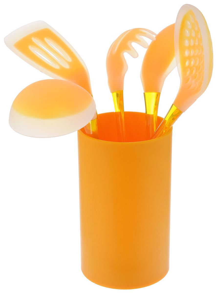Набор кухонных принадлежностей Mayer & Boch, цвет: оранжевый, 6 предметов22487_оранжевыйНабор кухонных принадлежностей Mayer & Boch включает ложку для спагетти, лопатку с прорезями, ложку для помешивания, шумовку, половник и подставку. Приборы выполнены из полистирола, рабочие поверхности предметов покрыты безопасным пищевым силиконом, что позволяет использовать их для посуды с антипригарным покрытием. Ручки приборов снабжены отверстиями для подвешивания. Для удобного хранения в наборе предусмотрена подставка с покрытием Soft-Touch. Этот профессиональный набор очень удобен в использовании. Наслаждайтесь приготовлением пищи с набором кухонных принадлежностей Mayer & Boch. Длина ложки для спагетти: 31 см. Диаметр рабочей поверхности ложки для спагетти: 7,5 см. Длина шумовки: 34 см. Диаметр рабочей поверхности шумовки: 10,5 см. Длина ложки: 33 см. Размер рабочей поверхности ложки: 6,5 х 11 см. Длина лопатки: 33,5 см. Размер рабочей поверхности лопатки: 8 х 10 см. Длина половника: 30,5 см. Диаметр рабочей поверхности половника: 8,5 см.