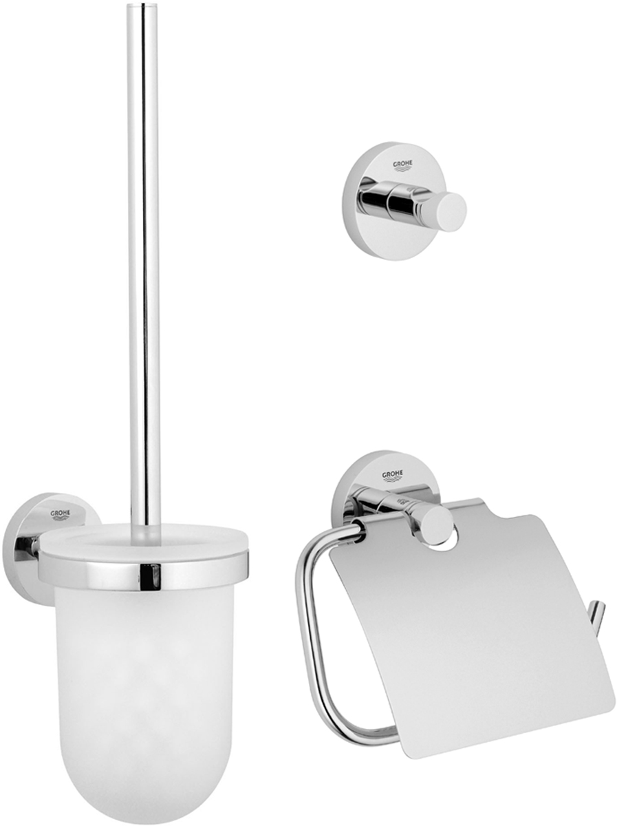 """Комплект аксессуаров Grohe """"Essentials"""", состоящий из крючка для банного халата, держателя для туалетной бумаги и комплекта с туалетным ершиком, представляет собой идеальный выбор для оснащения ванной комнаты. Изделия изготовлены из высококачественного металла и стекла. Все предметы разработаны в едином стиле и сочетают в себе универсальный дизайн, изысканные технологии изготовления и первоклассное качество.  В комплект входит набор креплений для аксессуаров.  Размер комплекта с туалетным ершиком: 40 х 12 х 9,5 см. Размер крючка для банного халата: 5,5 х 5,5 х 4,5 см. Размер держателя для туалетной бумаги: 17 х 4,5 х 12 см."""