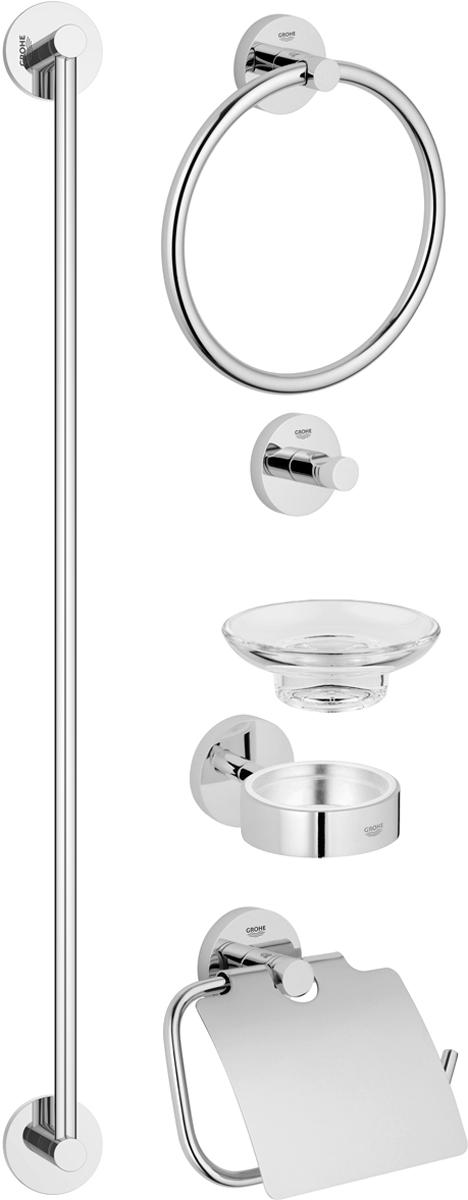"""Комплект аксессуаров Grohe """"Essentials"""", состоящий из мыльницы с держателем, крючка для банного халата, кольца для полотенца, держателя для туалетной бумаги и держателя для банного полотенца, представляет собой идеальный выбор для оснащения ванной комнаты. Изделия изготовлены из высококачественного металла и стекла. Все предметы разработаны в едином стиле и сочетают в себе универсальный дизайн, изысканные технологии изготовления и первоклассное качество.  В комплект входит набор креплений для аксессуаров.  Размер держателя для банного полотенца: 65 х 6 х 5,5 см. Размер крючка для банного халата: 5,5 х 5,5 х 4,5 см. Размер держателя для туалетной бумаги: 17 х 4,5 х 12 см. Размер кольца для банного халата: 20 х 4,5 х 18 см. Размер мыльницы с держателем: 12,5 х 11 х 6 см."""