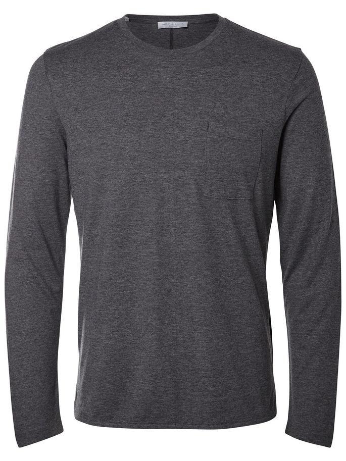 Лонгслив мужской Selected Homme Identity, цвет: темно-серый меланж. 16052848. Размер L (48) пуловер мужской selected homme identity цвет бордовый 16051696 размер l 48
