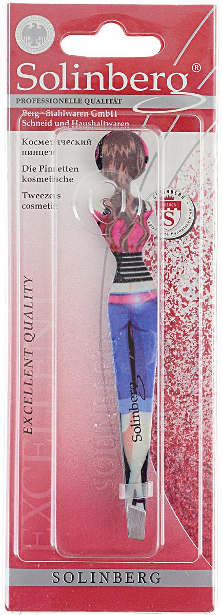 Пинцет для бровей Solinberg, цвет:  синий, розовый, наклонное окончание с четкими гранями.  251-F122 Solinberg