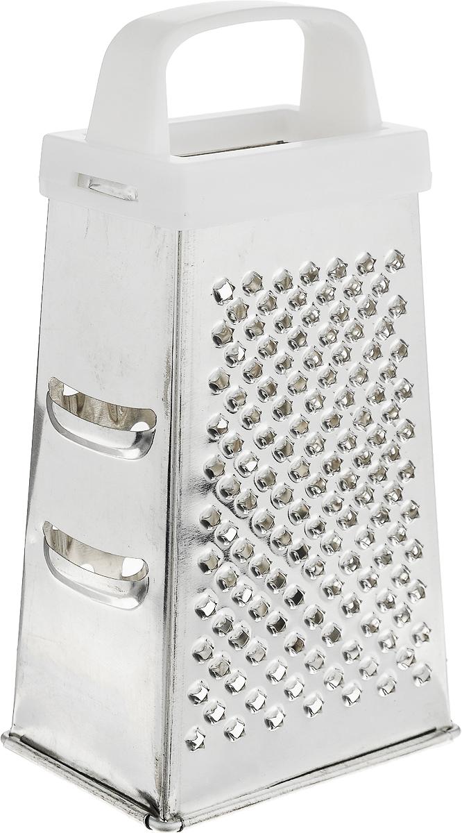 Терка Top Star, четырехгранная, цвет: белый, стальной, высота 17 см290383_белыйЧетырехгранная терка Top Star, выполненная из высококачественной хромированной стали, станет незаменимым атрибутом приготовления пищи. Терка оснащена удобной пластиковой ручкой. На одном изделии представлены четыре вида терок - крупная, средняя, мелкая и нарезка ломтиками. Современный стильный дизайн позволит терке занять достойное место на вашей кухне.Высота терки: 17 см.Размер основания: 8,8 х 6,2 см.