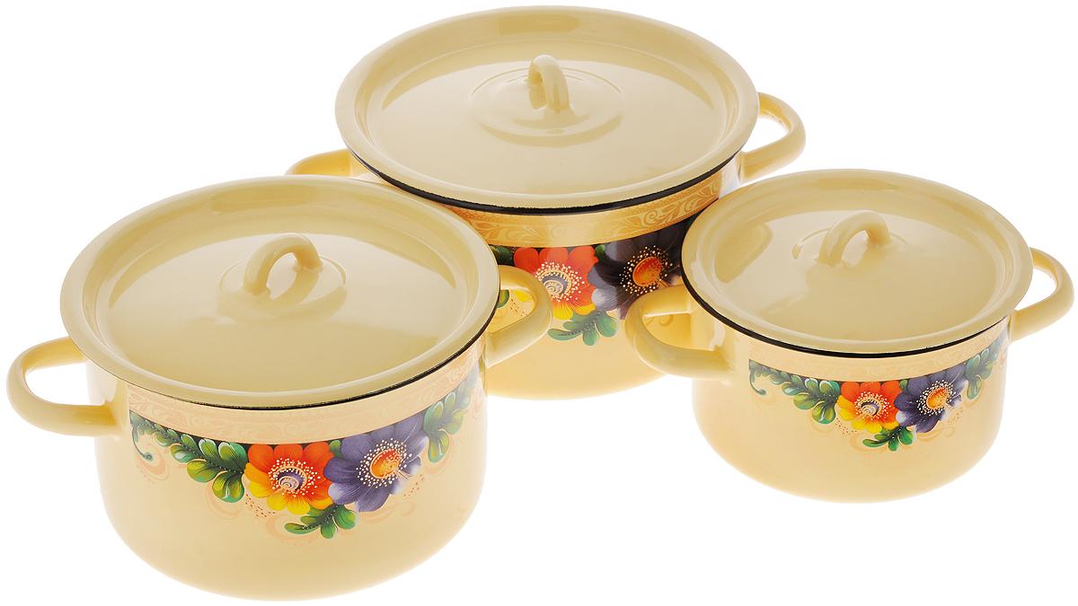 Набор кастрюль СтальЭмаль  Вологда  с крышками, 6 предметов - Посуда для приготовления