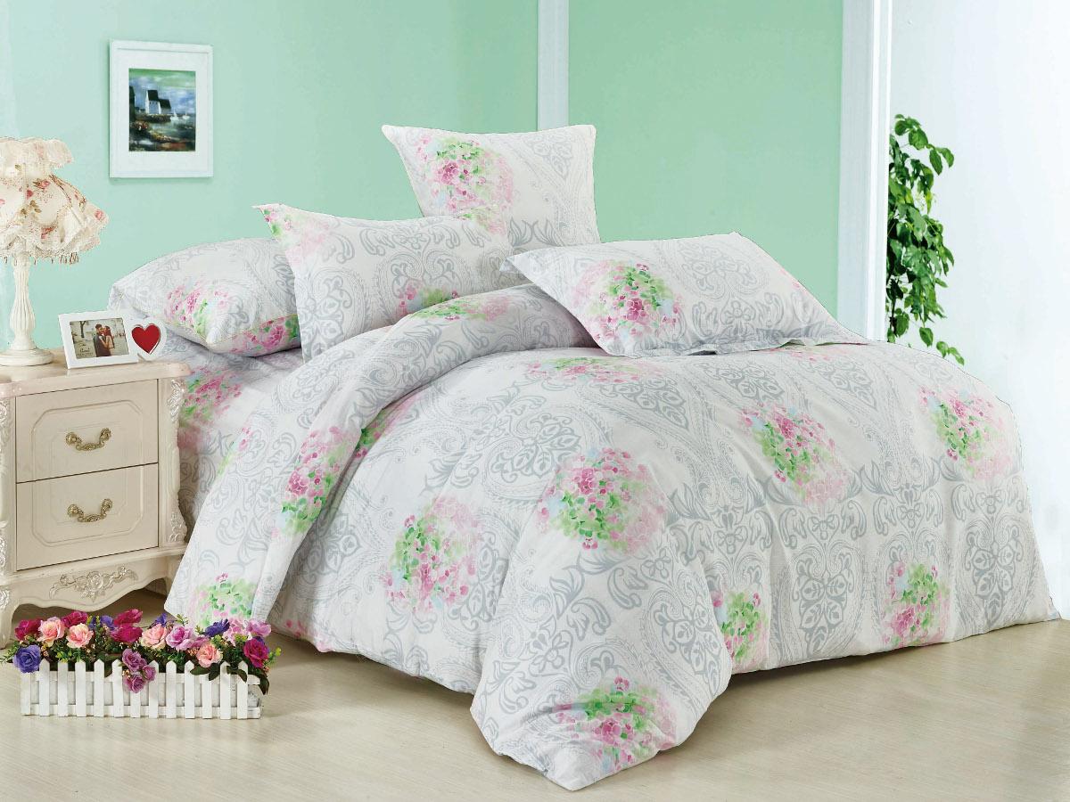 Комплект белья Cleo Цветочный принт, 1,5-спальный, наволочки 70x70, цвет: серо-белый. 15/001-BL