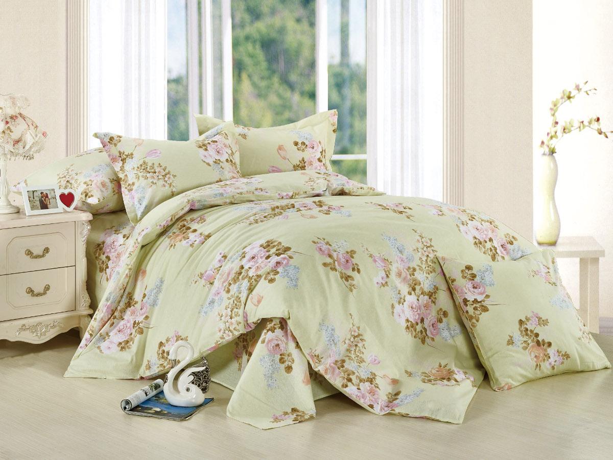 Комплект белья Cleo Летний аромат, 1,5-спальный, наволочки 70x70, цвет: светло-зеленый. 15/003-BL
