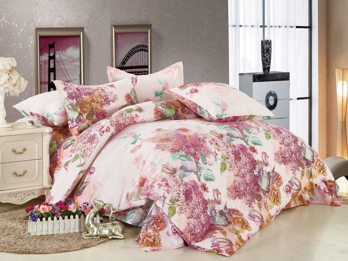 Комплект белья Cleo Цветочный рай, 1,5-спальный, наволочки 70x70, цвет: розовый. 15/006-BL