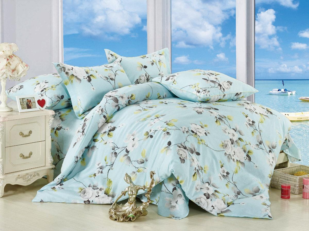 Комплект белья Cleo Валентина, 1,5-спальный, наволочки 70x70, цвет: голубой. 15/009-BL