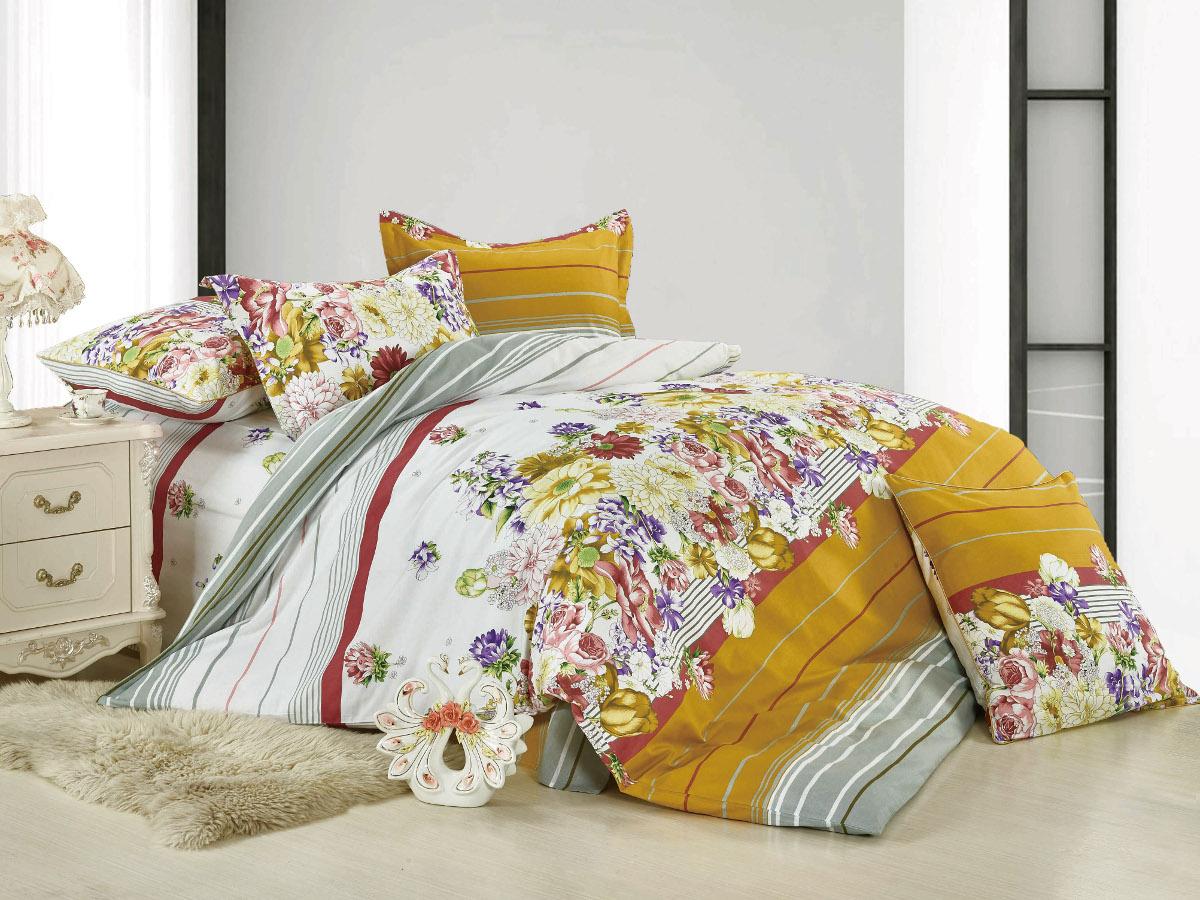 Комплект белья Cleo Душистая магнолия, 2-спальный, наволочки 70x70, цвет: желтый. 20/022-BL cleo 20 022 bl