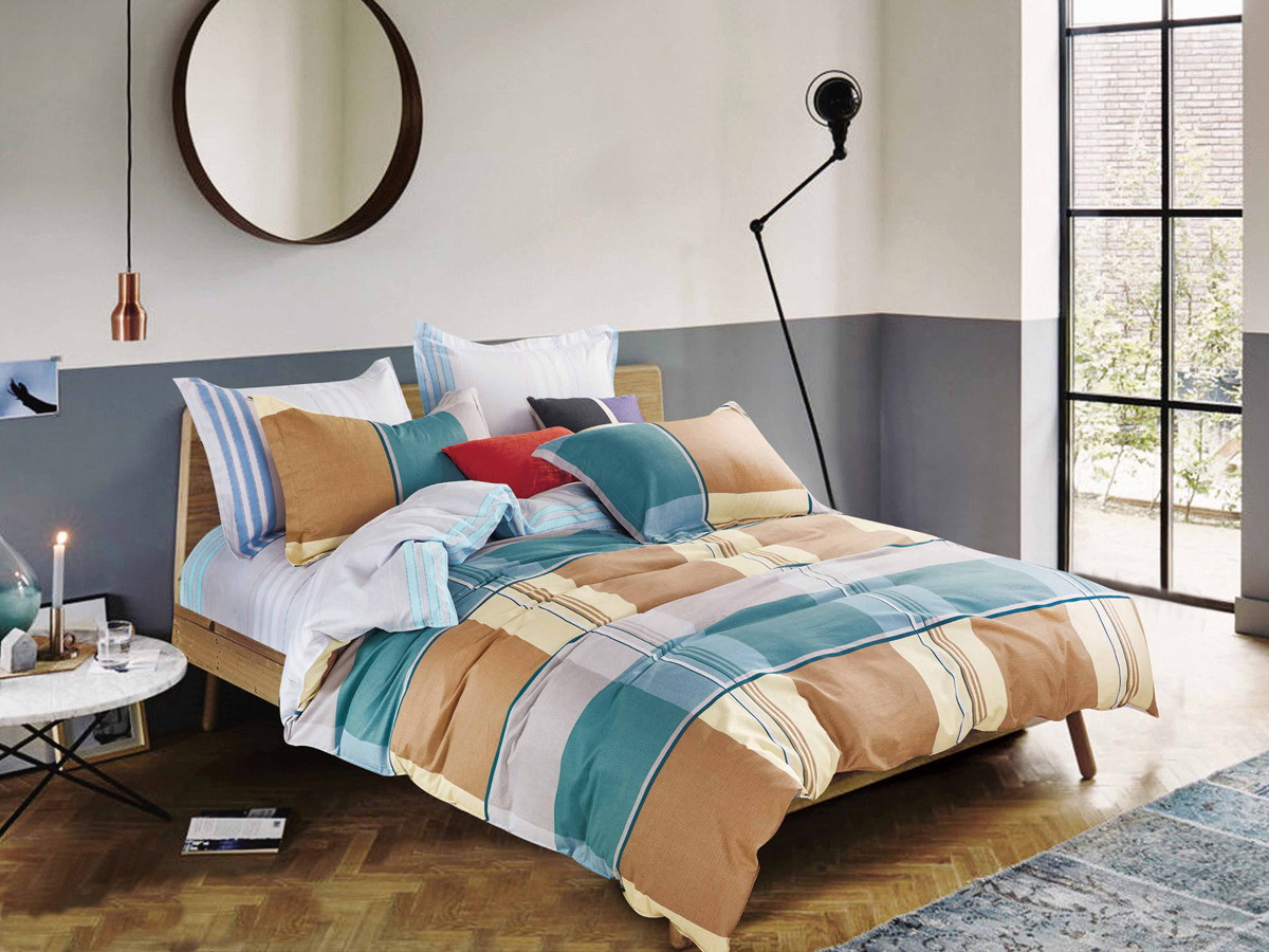 Комплект белья Cleo Квадрариум, 1,5-спальный, наволочки 70x70, цвет: коричневый. 15/285-SP комплект белья cleo серебро евро наволочки 70x70