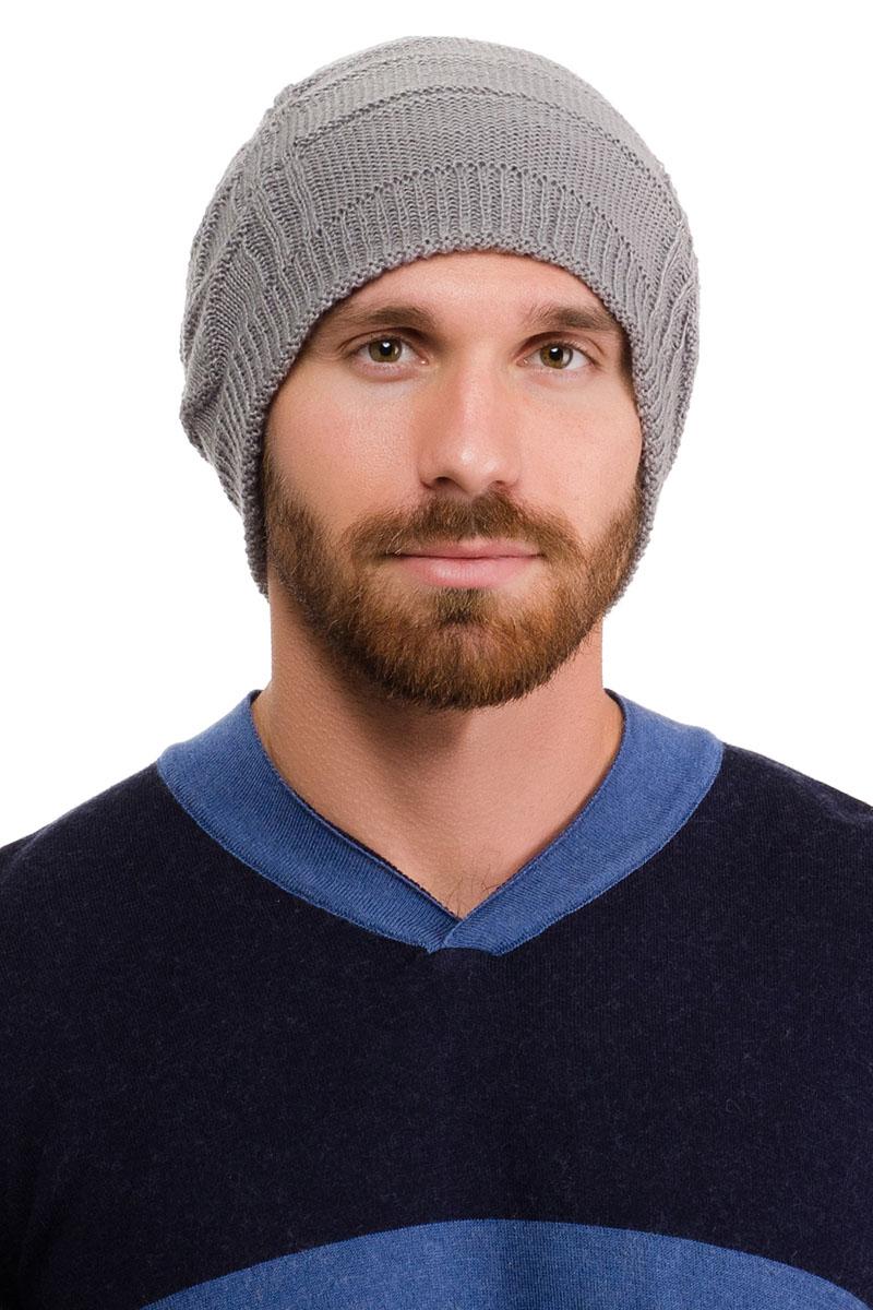 Шапка мужская Moltini, цвет: серый. 171K-1601. Размер 57/59171K-1601Вязаная мужская шапка Moltini выполнена из высококачественной пряжи из акрила и шерсти. Модель декорирована объемным вязаным узором в виде сетки.Уважаемые клиенты! Обращаем ваше внимание на тот факт, что размер, доступный для заказа, является обхватом головы.
