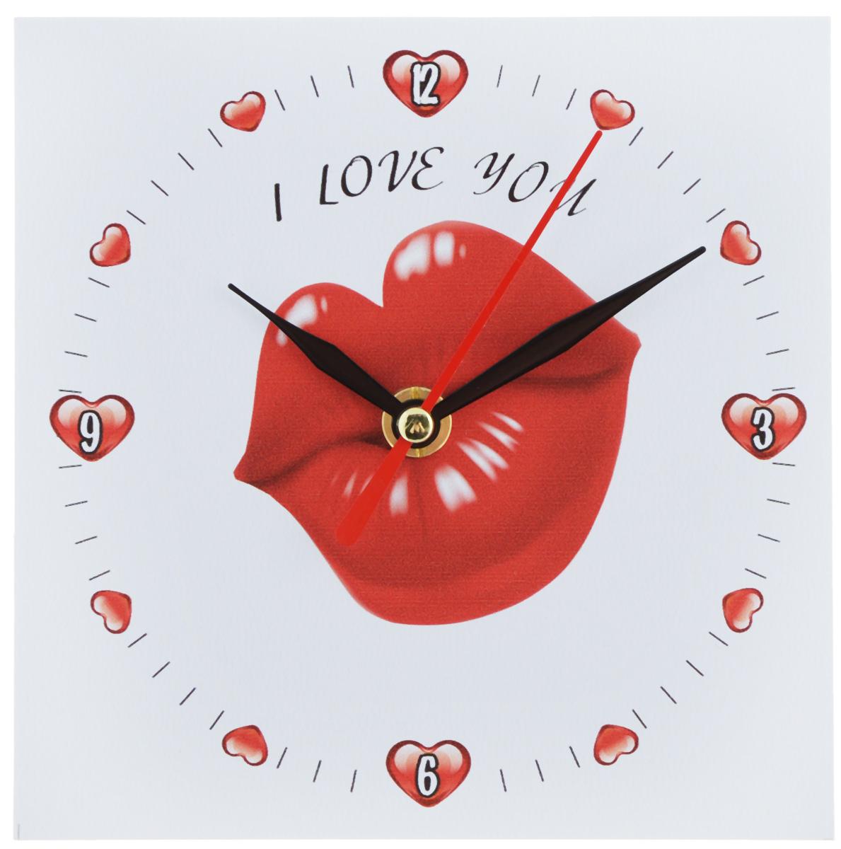 Часы настольные Эврика Губы, 14 х 14 см95837Часы настольные Эврика Губы изготовлены из МДФ с ламинированием и пластика. Изделие имеет оригинальный циферблат с изображением красных губ и надписью: I Love You. Механизм хода часов бесшумный и плавный. Сзади расположен специальный упор, благодаря которому часы можно поставить на стол. Часы также можно повесить на стену с помощью специального металлического отверстия. Такие яркие необычные часы станут украшением вашего рабочего стола и подчеркнут ваш стиль. Отличный подарок друзьям и близким, который обязательно вызовет улыбку и радость. Часы работают от одной батарейки напряжением 1,5V типа AA (в комплект не входит).
