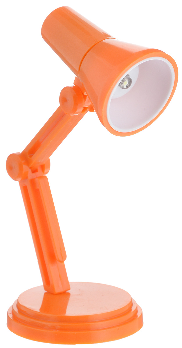 Светильник для чтения книг Эврика, цвет: оранжевый97678Светильник для чтения книг Эврика, выполненный из пластика, станет отличным приобретением для любителей ночного чтения. Изделие снабжено светодиодной подсветкой, что облегчит чтение, письмо или работу за компьютером в темное время суток. Небольшой светильник крепится на краю книги, также его можно ставить на стол. Ножка изделия регулируемая. Светильник работает от 3 батареек типа LR41 (входят в комплект).