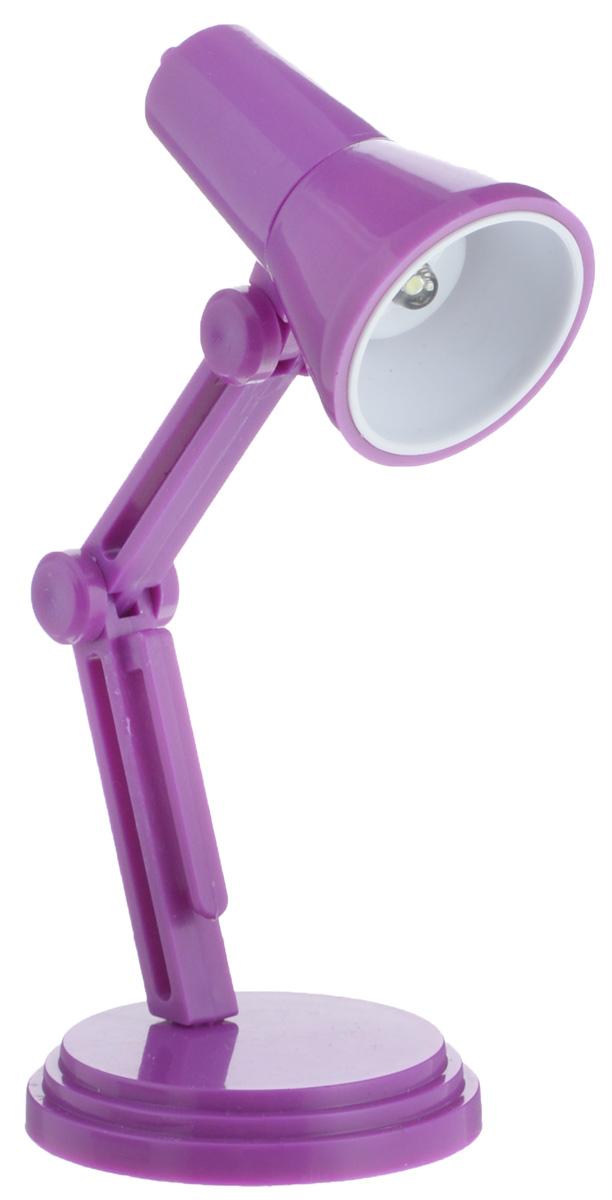 Светильник для чтения книг Эврика, цвет: фиолетовый97526Светильник для чтения книг Эврика, выполненный из пластика, станет отличным приобретением для любителей ночного чтения. Изделие снабжено светодиодной подсветкой, что облегчит чтение, письмо или работу за компьютером в темное время суток. Небольшой светильник крепится на краю книги, также его можно ставить на стол. Ножка изделия регулируемая.Светильник работает от 3 батареек типа LR41 (входят в комплект).