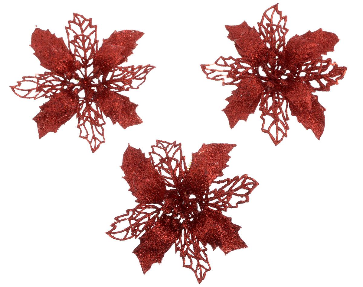 Набор новогодних украшений B&H Рождественский цветок, диаметр 10 см, 3 штBH1266-RНабор новогодних украшений B&H Рождественский цветок прекрасно подойдет для праздничного декора дома и новогодней ели. Набор состоит из 3 украшений, выполненных из пластика в виде изящных цветов. Изделия дополнены сверкающими блестками. Для удобного размещения для каждого украшения предусмотрена гибкая проволока. Создайте в своем доме атмосферу веселья и радости, украшая его к Новому году. Откройте для себя удивительный мир сказок и грез. Почувствуйте волшебные минуты ожидания праздника, создайте новогоднее настроение вашим родным и близким.