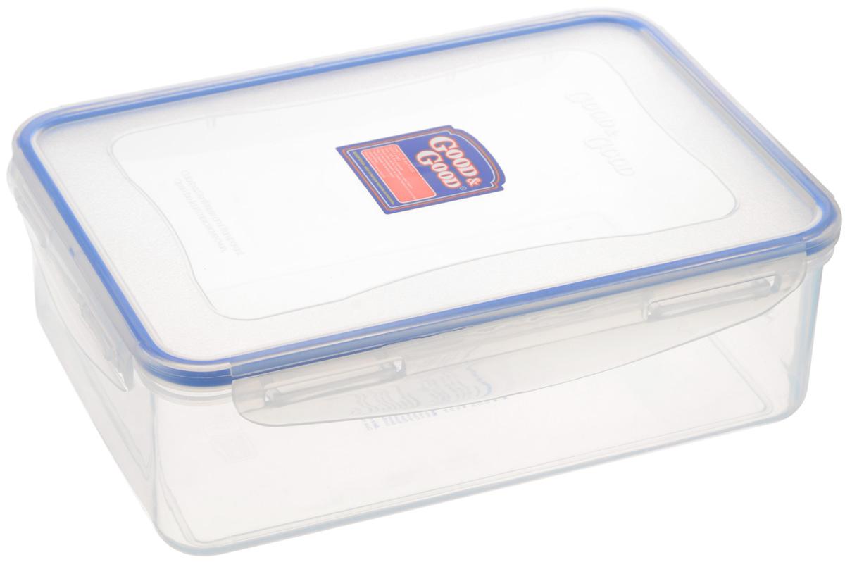 Контейнер Good&Good, цвет: прозрачный, синий, 2 л4-1Контейнер Good&Good изготовлен из высококачественного полипропилена и предназначен для хранения любых пищевых продуктов. Благодаря особым технологиям изготовления, контейнер в течение времени службы не меняет цвет и не пропитывается запахами. Крышка с силиконовой вставкой герметично защелкивается специальным механизмом. Контейнер Good&Good удобен для ежедневного использования в быту.Можно мыть в посудомоечной машине.Максимальная температура использования: +100°С.Минимальная температура использования: -20°С.Размер контейнера (с учетом крышки): 23 х 16,5 х 7,5 см.