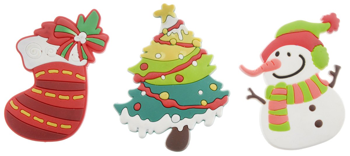 Магниты B&H Снеговик, елка, носок, 3 штBH1001Магниты B&H Снеговик, елка, носок прекрасно дополнят интерьер помещения в преддверии Нового года. Магниты выполнены из резины в виде забавных фигурок снеговика, елочки и рождественского носка. Создайте в своем доме атмосферу веселья и радости, украшая его к Новому году. Откройте для себя удивительный мир сказок и грез. Почувствуйте волшебные минуты ожидания праздника, создайте новогоднее настроение вашим родным и близким. Средний размер магнитов: 4 х 6 см.
