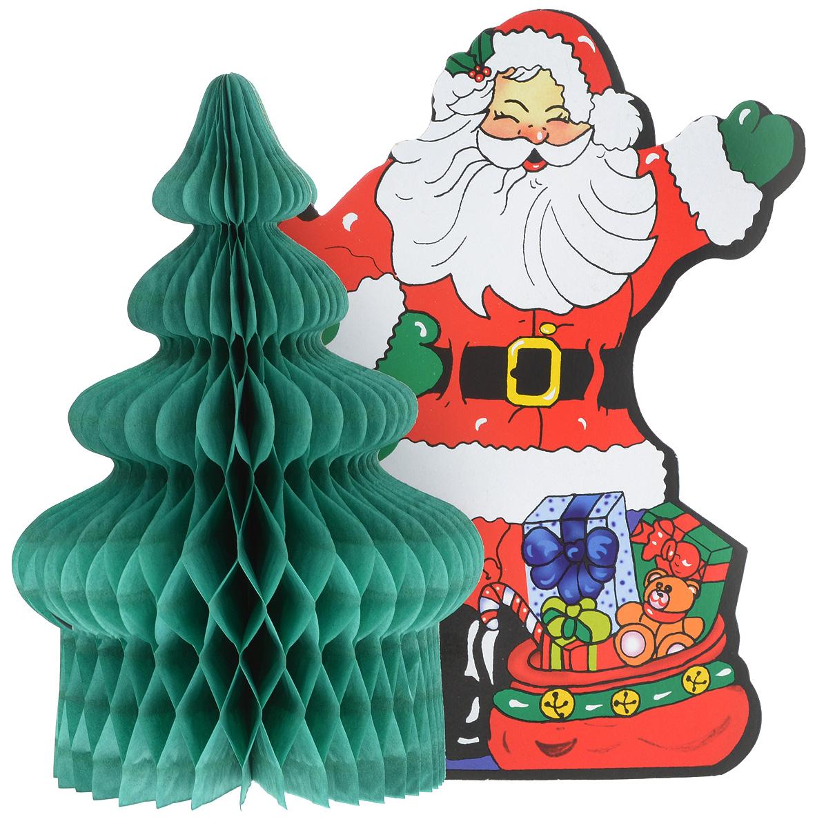 Украшение новогоднее из бумаги B&H Дед Мороз, длина 26,5 смBH12163D украшение из бумаги B&H Дед Мороз - оригинальное дополнение к домашнему интерьеру в преддверии волшебного праздника. Создать чарующую атмосферу для домочадцев и гостей не составляет сложностей: достаточно раскрыть бумажную конструкцию для того, чтобы стилизованное новогоднее изображение предстало во всей красе. Объемная фигура прекрасно подойдет для украшения праздничного стола или же заставит по-другому взглянуть на обычные книжные полки.
