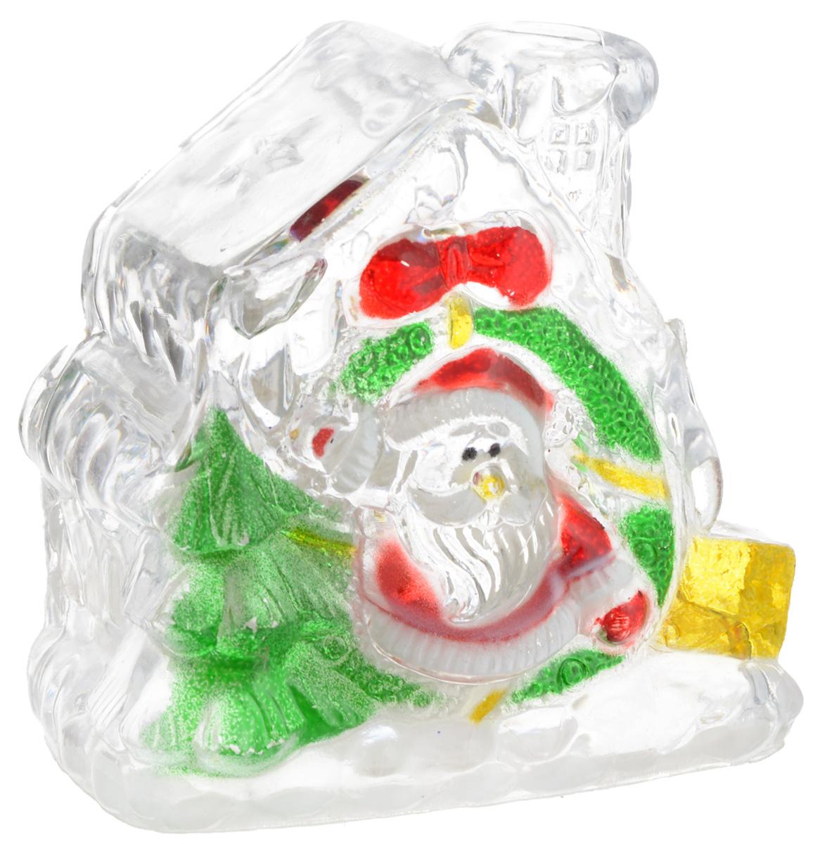 """Фигурка декоративная """"B&H"""" изготовлена из акрила в виде прозрачного домика. Изделие снабжено светодиодом, который меняет цвет и горит в разных режимах. Тумблер включения расположен на дне фигурки.  Создайте в своем доме атмосферу веселья и радости, украшая его к Новому году. Откройте для себя удивительный мир сказок и грез. Почувствуйте волшебные минуты ожидания праздника, создайте новогоднее настроение вашим родным и близким.  Изделие работает от 3 батареек типа LR1130 (входят в комплект)."""