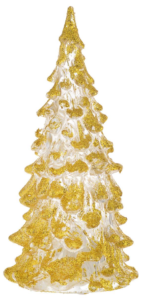 Фигурка декоративная B&H Елочка, светящаяся, цвет: золотистый, прозрачный, высота 12 смBH1081_золотойФигурка декоративная B&H изготовлена из акрила в виде нарядной новогодней елочки и декорирована цветными сверкающими блестками. Изделие снабжено светодиодом, который меняет цвет и горит в разных режимах. Тумблер включения расположен на дне фигурки.Создайте в своем доме атмосферу веселья и радости, украшая его к Новому году. Откройте для себя удивительный мир сказок и грез. Почувствуйте волшебные минуты ожидания праздника, создайте новогоднее настроение вашим родным и близким.Изделие работает от 3 батареек типа AG10 (входят в комплект).