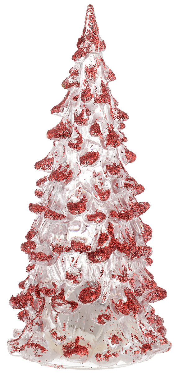 """Фигурка декоративная """"B&H"""" изготовлена из акрила в виде нарядной новогодней  елочки и декорирована цветными сверкающими блестками. Изделие снабжено  светодиодом, который меняет цвет и горит в разных режимах. Тумблер  включения расположен на дне фигурки.  Создайте в своем доме атмосферу веселья и радости, украшая его к Новому году.  Откройте для себя удивительный мир сказок и грез. Почувствуйте волшебные  минуты ожидания праздника, создайте новогоднее настроение вашим родным и  близким.  Изделие работает от 3 батареек типа AG10 (входят в комплект)."""
