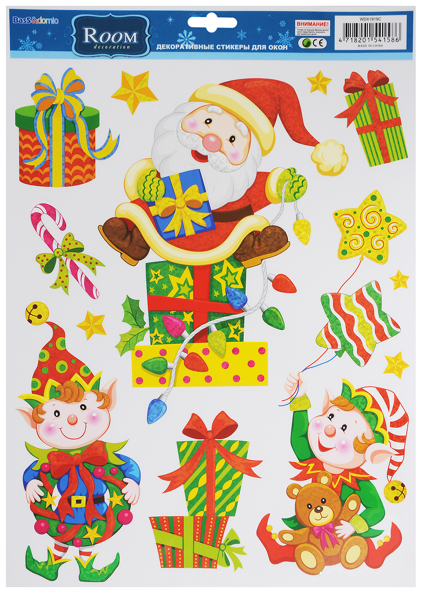 Украшение новогоднее оконное Room Decoration Санта и эльфыWDX1919CНовогоднее оконное украшение Room Decoration Санта и эльфы поможет украсить дом к предстоящим праздникам. Наклейки изготовлены из самоклеющегося поливинилхлорида. С помощью этих украшений вы сможете оживить интерьер по своему вкусу: наклеить их на окно, на зеркало.Новогодние украшения всегда несут в себе волшебство и красоту праздника. Создайте в своем доме атмосферутепла, веселья и радости, украшая его всей семьей.Размер листа: 28,8 х 37 см.Количество наклеек на листе: 10 шт.Размер самой большой наклейки: 21,4 х 27 см.Размер самой маленькой наклейки: 3 х 3 см.