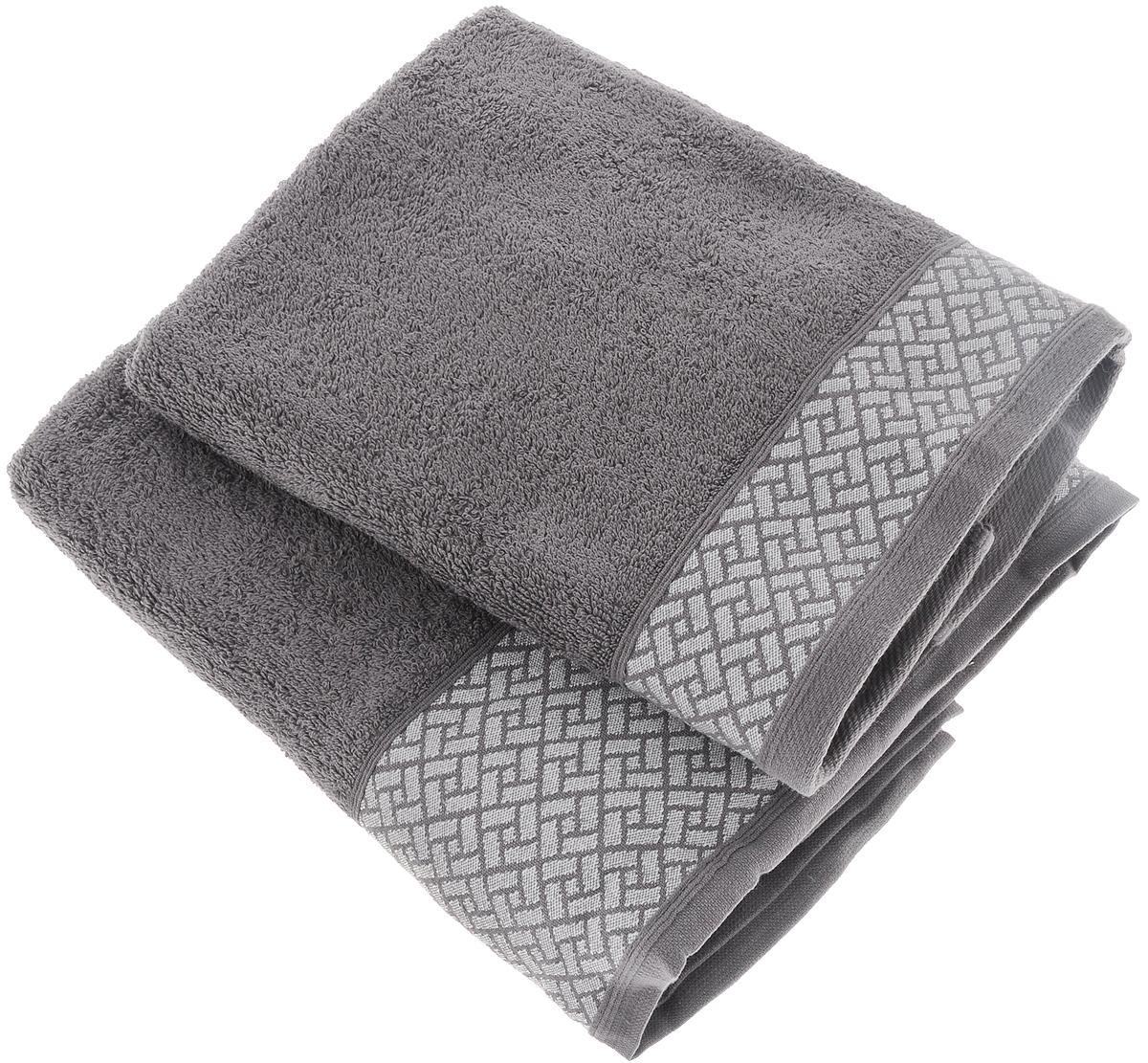 Набор полотенец Tete-a-Tete Лабиринт, цвет: серый, 2 шт. УНП-109-03кУНП-109-03кНабор Tete-a-Tete Лабиринт состоит из двух махровых полотенец, выполненных из натурального 100% хлопка. Бордюр полотенец декорирован геометрическим узором. Изделия мягкие, отлично впитывают влагу, быстро сохнут, сохраняют яркость цвета и не теряют форму даже после многократных стирок. Полотенца Tete-a-Tete Лабиринт очень практичны и неприхотливы в уходе. Они легко впишутся в любой интерьер благодаря своей нежной цветовой гамме.Размеры полотенец: 50 х 90 см, 70 х 140 см.