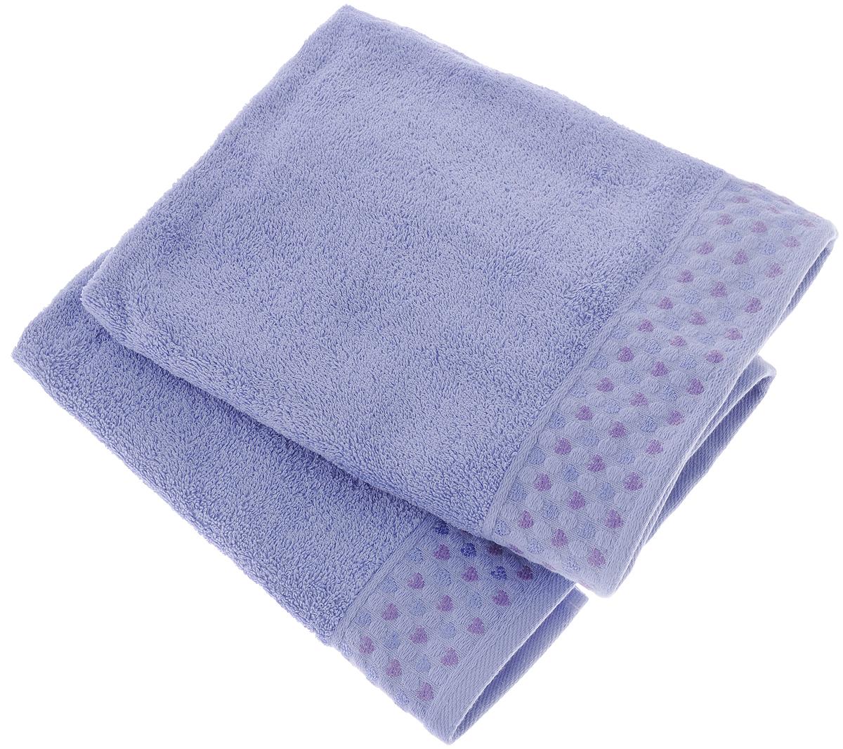 Набор полотенец Tete-a-Tete Сердечки, цвет: сирень, 50 х 90 см, 2 штУНП-007-05-2кНабор Tete-a-Tete Сердечки состоит из двух махровых полотенец, выполненных из натурального 100% хлопка. Бордюр полотенец декорирован рисунком сердечек. Изделия мягкие, отлично впитывают влагу, быстро сохнут, сохраняют яркость цвета и не теряют форму даже после многократных стирок. Полотенца Tete-a-Tete Сердечки очень практичны и неприхотливы в уходе. Они легко впишутся в любой интерьер благодаря своей нежной цветовой гамме. Набор упакован в красивую коробку и может послужить отличной идеей подарка.Размер полотенец: 50 х 90 см.