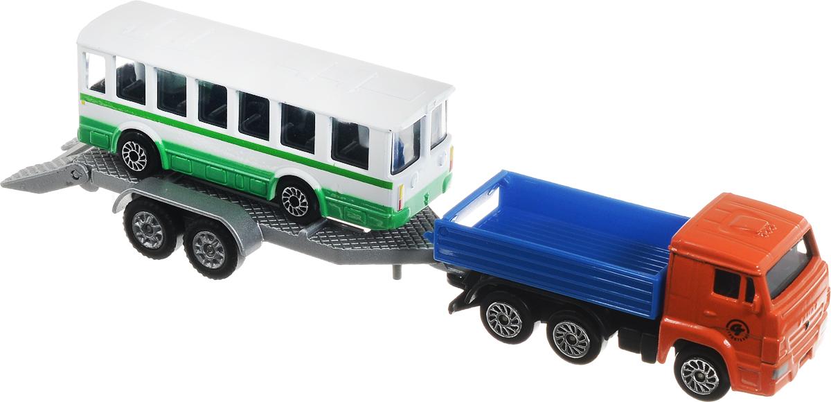 ТехноПарк Машинка КамАЗ с автобусом на прицепе технопарк набор машинок экскаватор и самосвал с прицепом