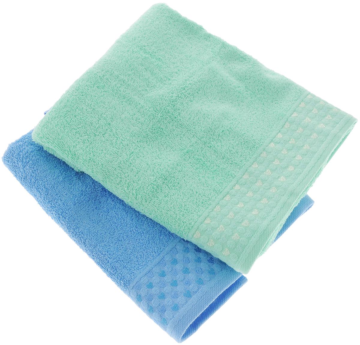 Набор полотенец Tete-a-Tete Сердечки, цвет: голубой, бирюзовый, 50 х 90 см, 2 шт набор полотенец tete a tete сердечки цвет желтый бирюза 50 х 90 см 2 шт