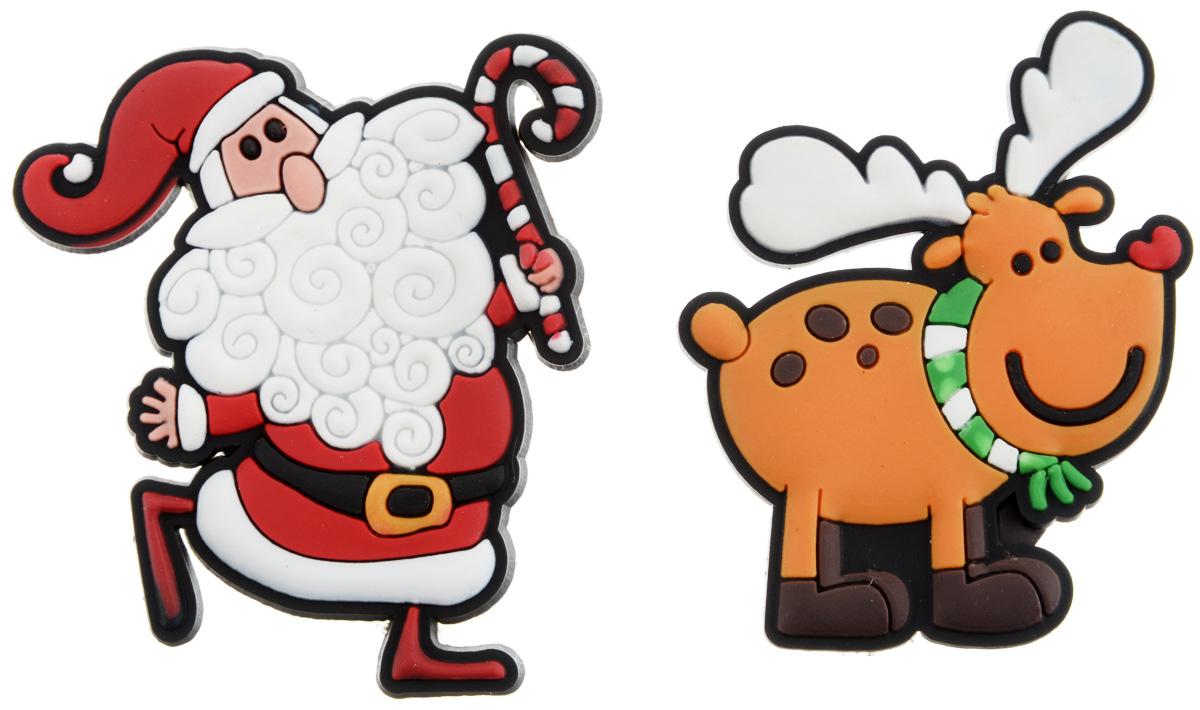 Магниты новогодние B&H Дед Мороз и олень, 2 штBH1077Магниты новогодние B&H Дед Мороз и олень помогут украсить дом к предстоящему празднику, а также разнообразить фотосессию, добавив в интерьер яркие краски. Набор включает 2 магнита, выполненных в виде главных новогодних символов: Деда Мороза и оленя. Благодаря магнитному основанию их можно прикрепить к металлической поверхности. Изделия выполнены из прочных и качественных материалов, поэтому прослужит вам в течение многих лет.Подарите себе и близким положительные эмоции и памятные мгновения с помощью декоративных магнитов.