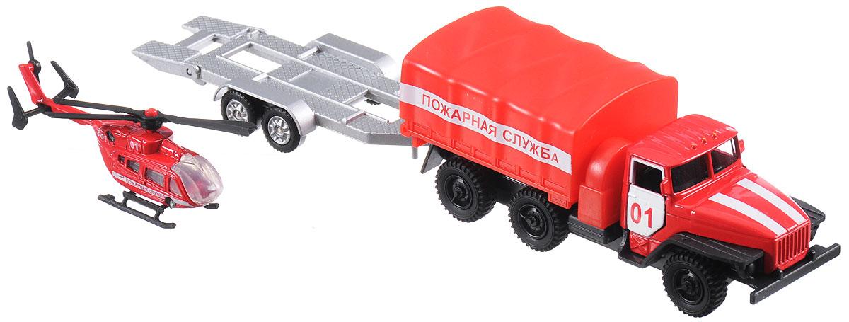 ТехноПарк Машинка инерционная Урал Пожарная служба с прицепом технопарк пожарная машина со светом и звуком технопарк