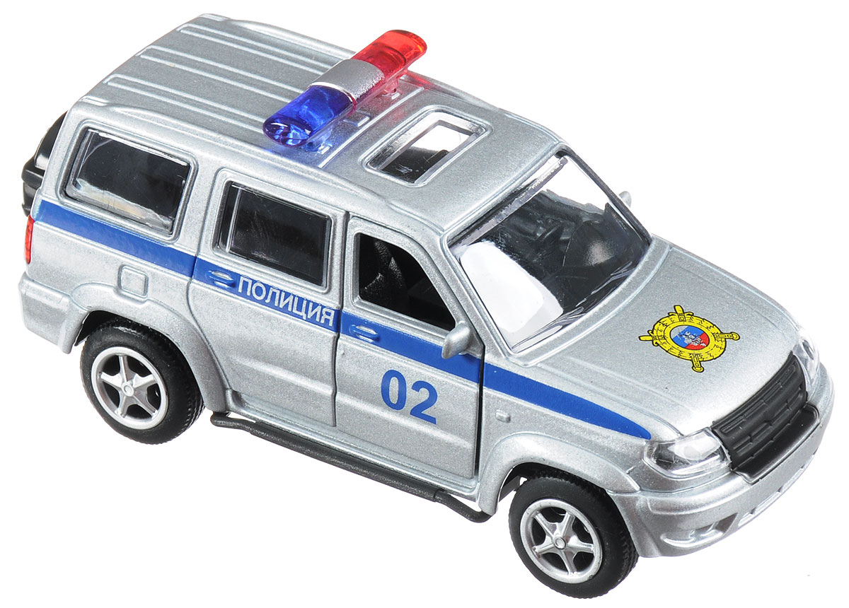 ТехноПарк Машинка инерционная UAZ Patriot Полиция технопарк автомобиль uaz hunter пожарная служба