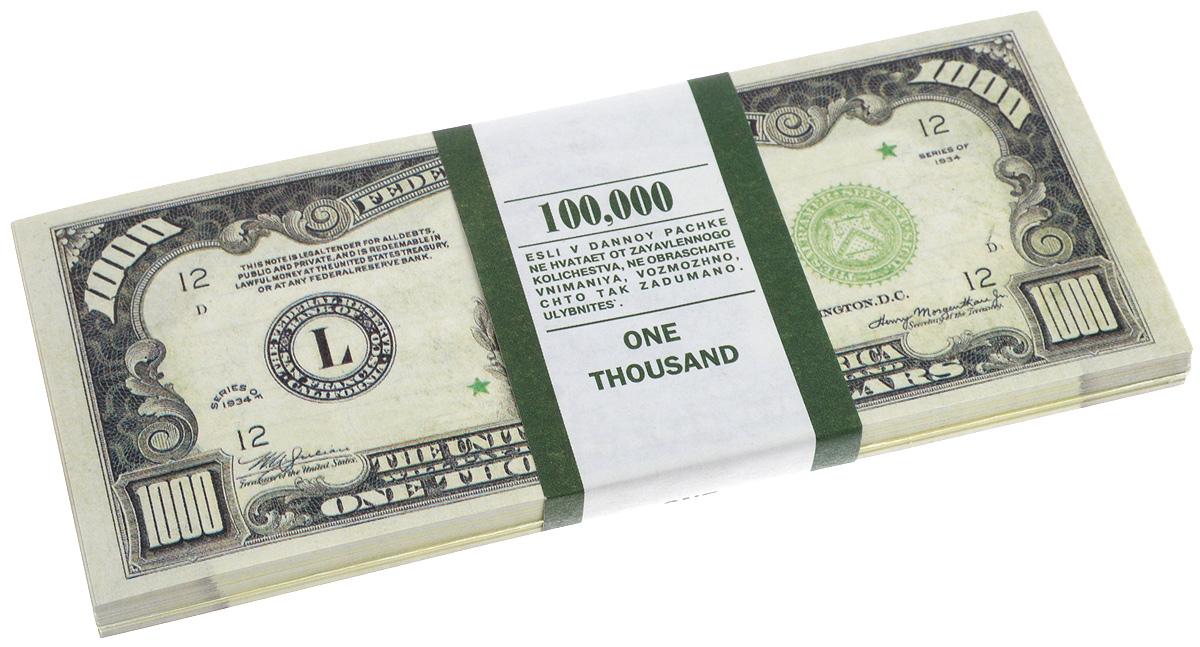 Блокнот Эврика Пачка 1000 долларов, 90 листов95518Блокнот Эврика Пачка 1000 долларов - это яркий аксессуар для тех, кто ценит практичные и оригинальные вещи. Блокнот состоит из 90 разноцветных линованных листов. Такой оригинальный блокнот поможет вам записать важные мысли и заметки, а его внешний вид не позволит затеряться среди других вещей на вашем столе.Размер одного листа: 6 х 15,1 см.